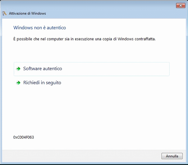 Copia Contraffatta di Windows 7